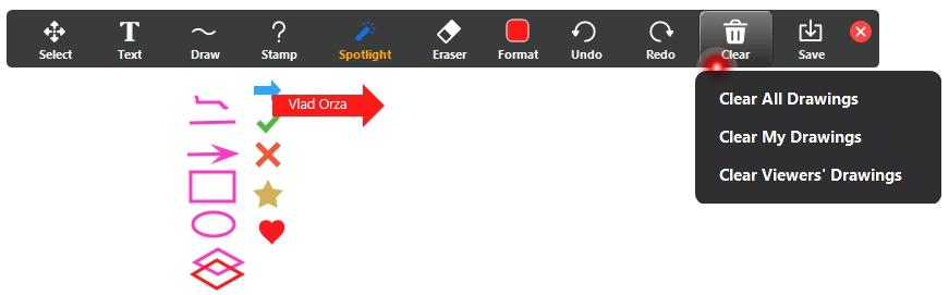 Zoom tabla interactiva optiuni